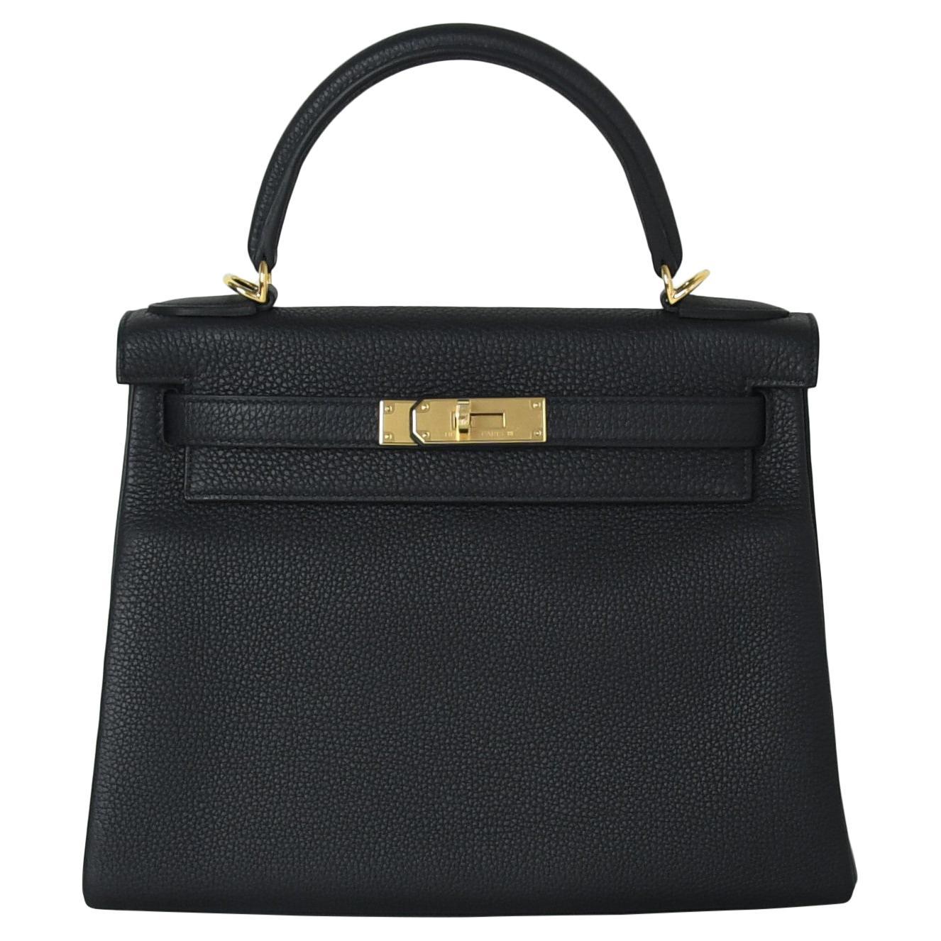 Hermes Kelly 28 Togo Bag Gold Hardware Black