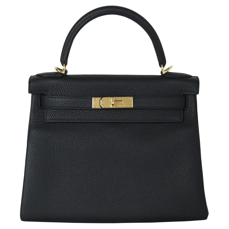 Hermes Kelly 28 Togo Bag Gold Hardware Black For Sale