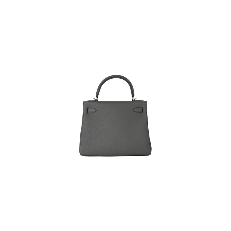 Gray Hermes Kelly 28 Togo Bag Palladium Hardware Etain For Sale
