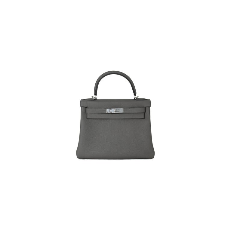 Hermes Kelly 28 Togo Bag Palladium Hardware Etain In New Condition For Sale In Flushing, NY