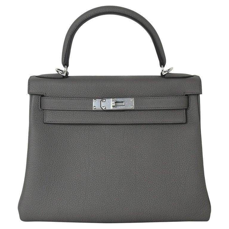 Hermes Kelly 28 Togo Bag Palladium Hardware Etain For Sale