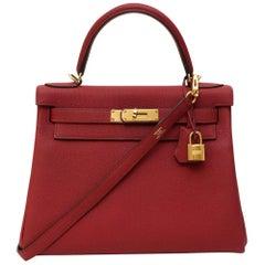 Hermès Kelly 28 Togo Rouge Grenat shoulder handle bag