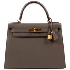Hermès Kelly 28 Veau Epsom Gris Etain GHW