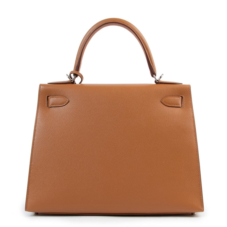 Hermès Kelly 28 Verso Gold Ambre Epsom PHW For Sale 1
