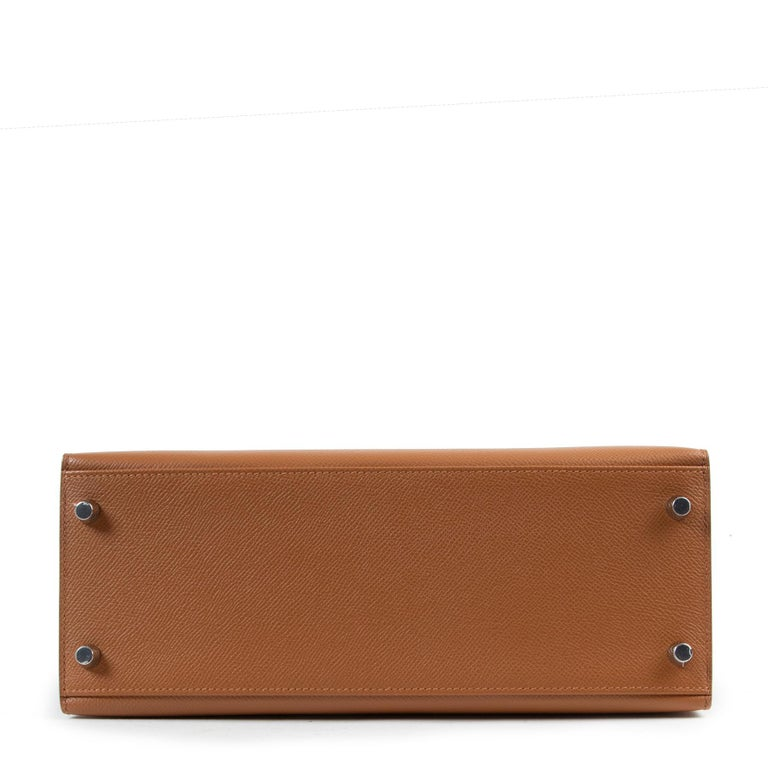 Hermès Kelly 28 Verso Gold Ambre Epsom PHW For Sale 2