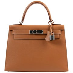 Hermès Kelly 28 Verso Gold Ambre Epsom PHW