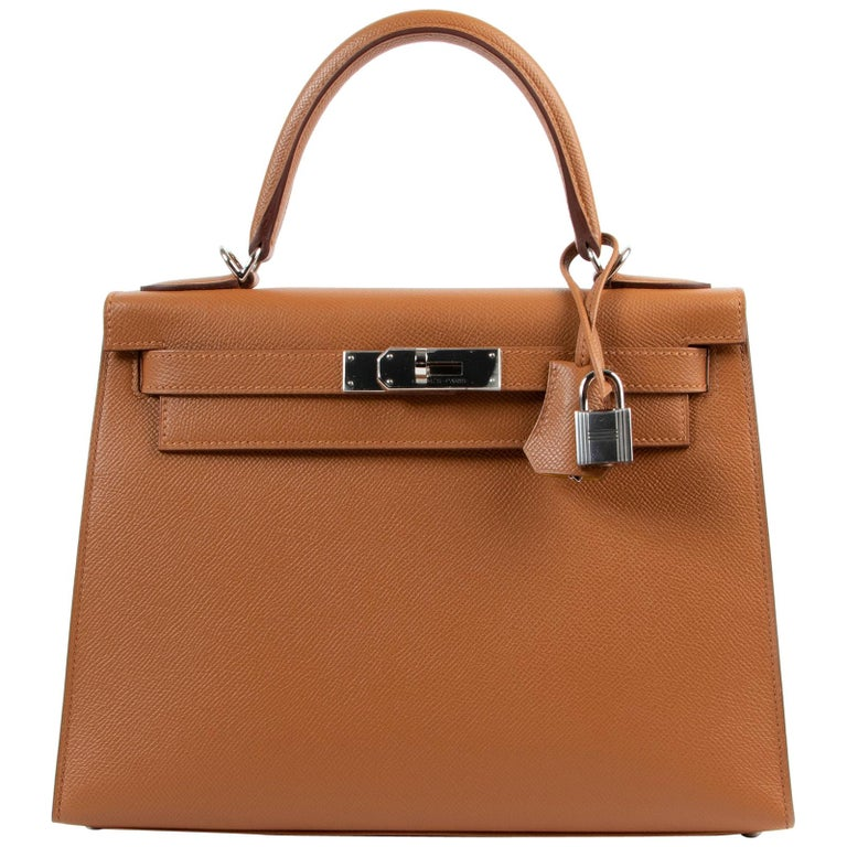 Hermès Kelly 28 Verso Gold Ambre Epsom PHW For Sale
