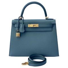 Hermes Kelly 28 Vert Amande Gray Epsom Sellier Bag New Color