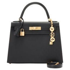 Hermes Kelly 28cm Black Epsom Sellier Gold Hardware Y Stamp, 2020