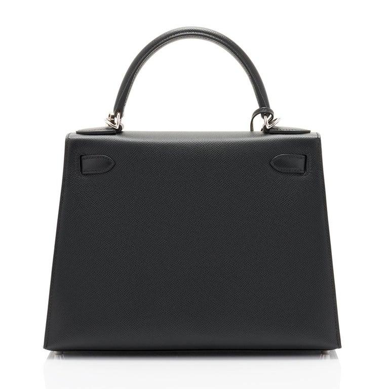 Hermes Kelly 28cm Black Epsom Sellier Shoulder Bag D Stamp, 2019 In New Condition For Sale In New York, NY