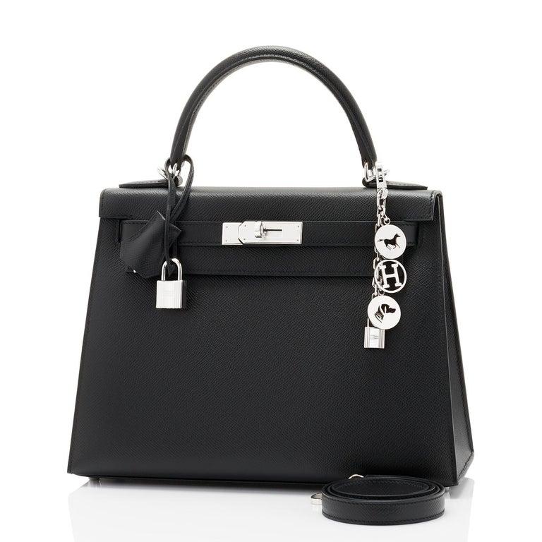 Women's Hermes Kelly 28cm Black Epsom Sellier Shoulder Bag D Stamp, 2019 For Sale