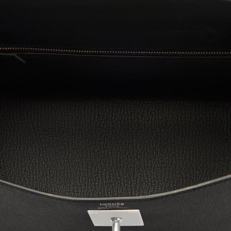 Hermes Kelly 28cm Black Epsom Sellier Shoulder Bag D Stamp, 2019 For Sale 3