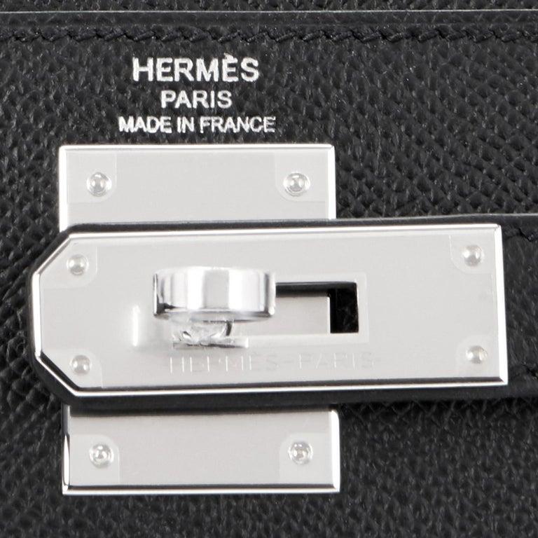 Hermes Kelly 28cm Black Epsom Sellier Shoulder Bag D Stamp, 2019 For Sale 5