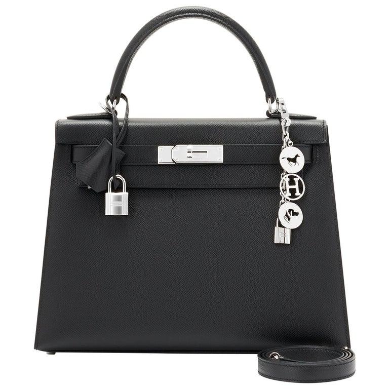 Hermes Kelly 28cm Black Epsom Sellier Shoulder Bag D Stamp, 2019 For Sale