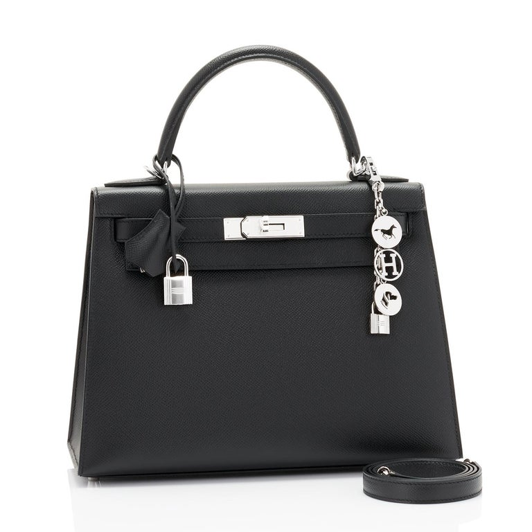 Hermes Kelly 28cm Black Epsom Sellier Shoulder Bag Y Stamp, 2020 Brand New in Box. Store Fresh. Pristine Condition (with plastic on hardware). Just purchased from Hermes store; bag bears new interior 2020 Y stamp. Perfect gift! Comes full set with