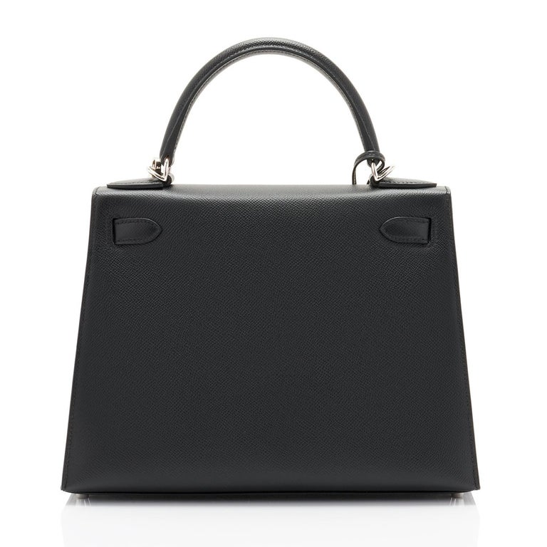 Hermes Kelly 28cm Black Epsom Sellier Shoulder Bag Y Stamp, 2020 In New Condition For Sale In New York, NY