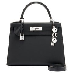 Hermes Kelly 28cm Black Epsom Sellier Shoulder Bag Y Stamp, 2020