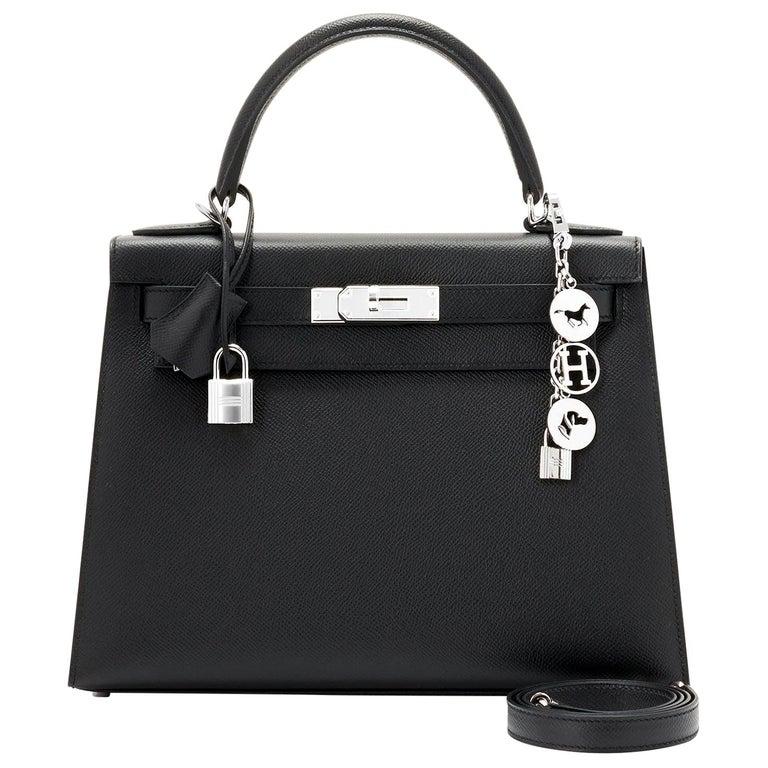 Hermes Kelly 28cm Black Epsom Sellier Shoulder Bag Y Stamp, 2020 For Sale