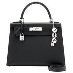 Hermes Kelly 28cm Black Epsom Sellier Shoulder Bag Y Stamp, 2020