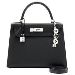 Hermes Kelly 28cm Black Epsom Sellier Shoulder Bag Z Stamp, 2021