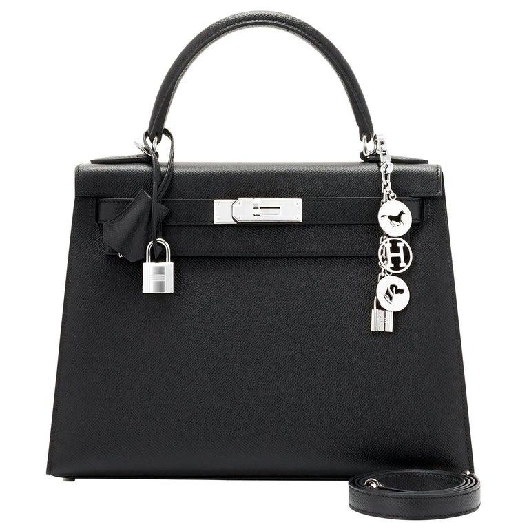 Hermes Kelly 28cm Black Epsom Sellier Shoulder Bag Z Stamp, 2021 For Sale