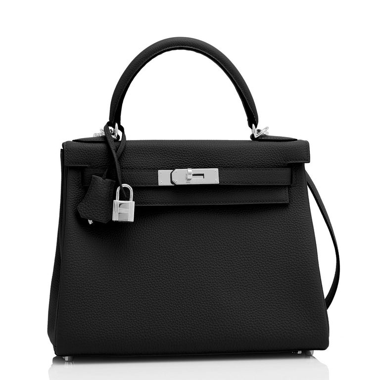 Hermes Kelly 28cm Black Togo Palladium Shoulder Bag Y Stamp, 2020 Just purchased from Hermes store; bag bears new interior 2020 Y Stamp. Brand New in Box. Store fresh.  Pristine condition (with plastic on hardware) Comes in full set with clochette,