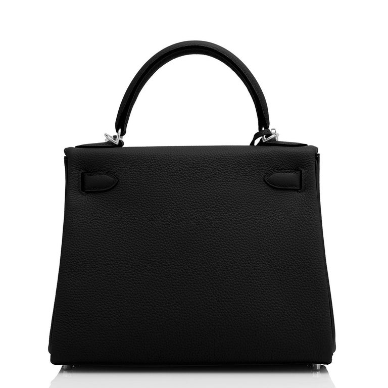 Hermes Kelly 28cm Black Togo Palladium Shoulder Bag Y Stamp, 2020 In New Condition For Sale In New York, NY