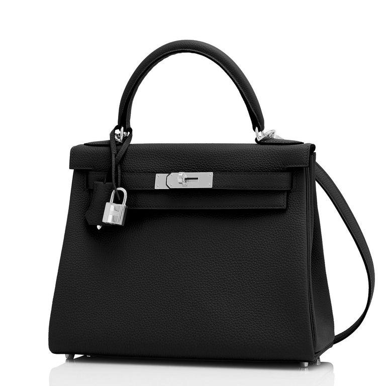 Women's Hermes Kelly 28cm Black Togo Palladium Shoulder Bag Y Stamp, 2020 For Sale