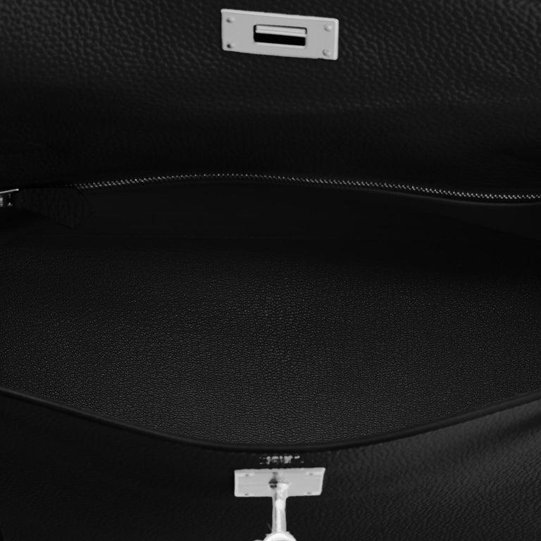 Hermes Kelly 28cm Black Togo Palladium Shoulder Bag Y Stamp, 2020 For Sale 3