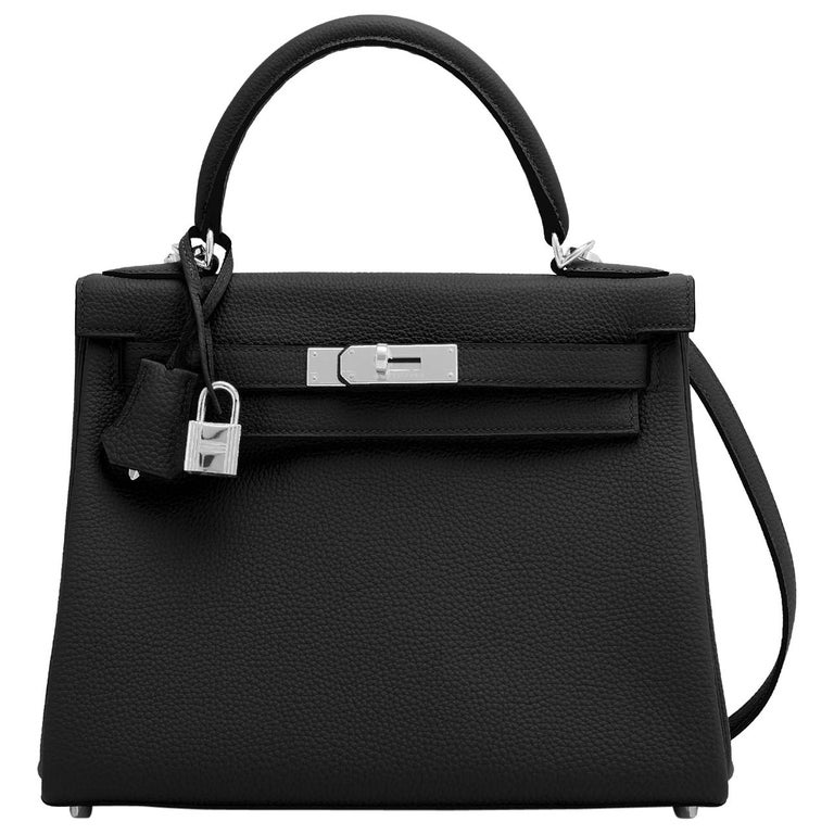 Hermes Kelly 28cm Black Togo Palladium Shoulder Bag Y Stamp, 2020 For Sale