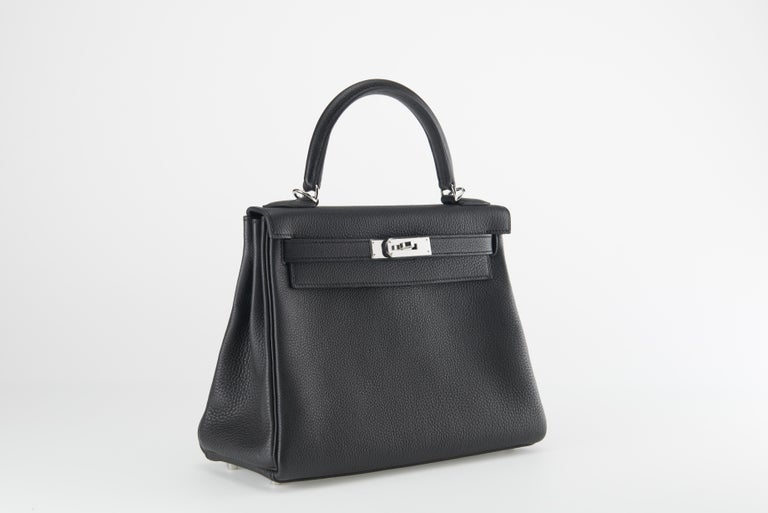 New/unworn Hermes Kelly 28cm in Black Togo leather with palladium hardware.