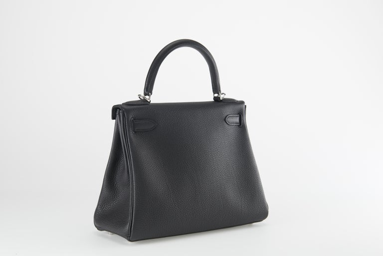 Hermes Kelly 28cm Black Togo with Palladium In New Condition For Sale In Sheridan, WY