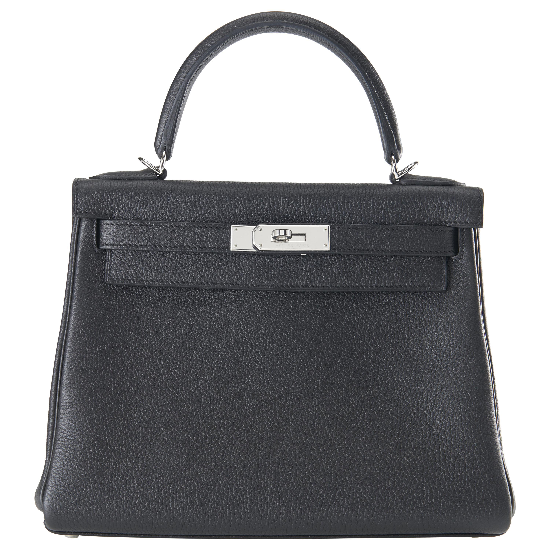 Hermes Kelly 28cm Black Togo with Palladium