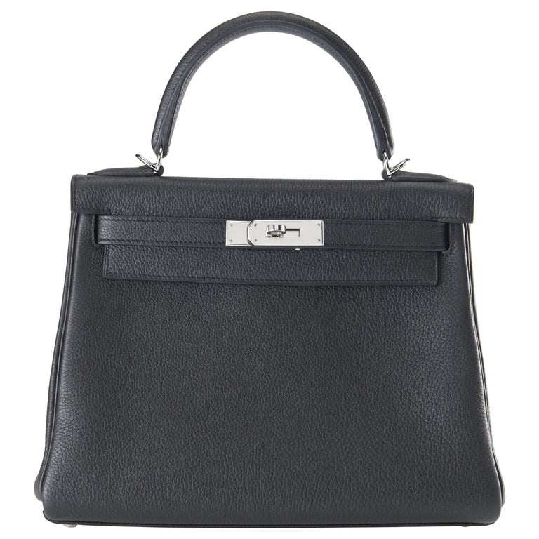 Hermes Kelly 28cm Black Togo with Palladium For Sale