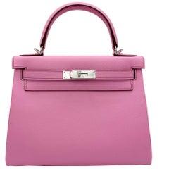 Hermès Kelly 28cm Bubblegum Epsom Leather Palladium Hardware