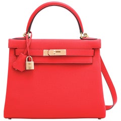 Hermes Kelly 28cm Capucine Red Orange Togo Gold Shoulder Bag Y Stamp, 2020
