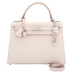 "Hermes Kelly 28cm Craie ""Chalk"" Off White Epsom Sellier Shoulder Bag NEW"