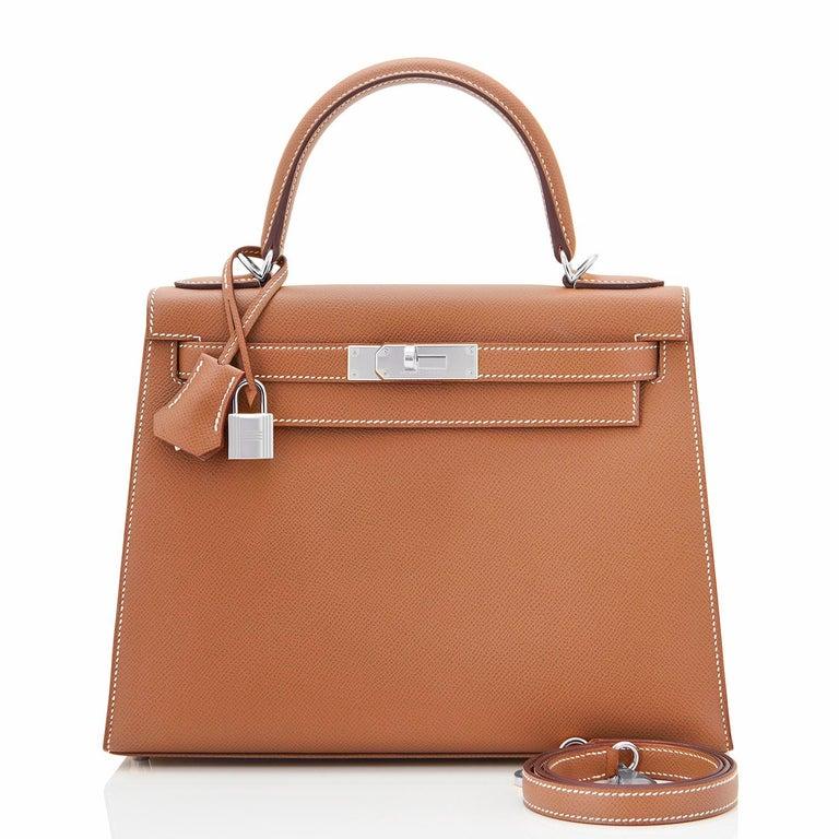 Hermes Kelly 28cm Gold Camel Tan Epsom Sellier Shoulder Bag NEW For Sale 5