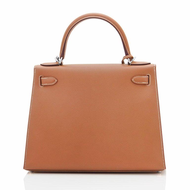 Brown Hermes Kelly 28cm Gold Camel Tan Epsom Sellier Shoulder Bag NEW For Sale
