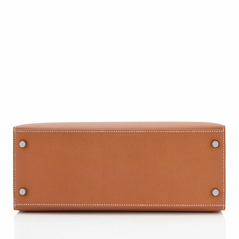Hermes Kelly 28cm Gold Camel Tan Epsom Sellier Shoulder Bag NEW For Sale 1