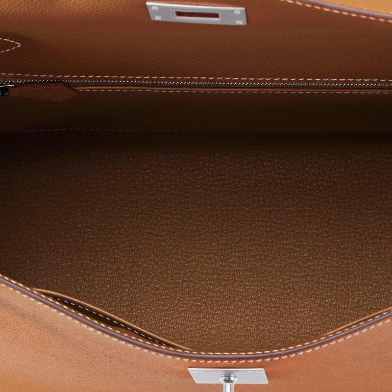 Hermes Kelly 28cm Gold Camel Tan Epsom Sellier Shoulder Bag NEW For Sale 2