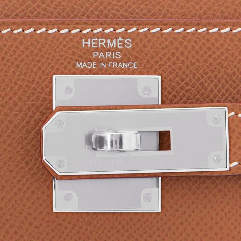 Hermes Kelly 28cm Gold Camel Tan Epsom Sellier Shoulder Bag NEW For Sale 4