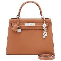 Hermes Kelly 28cm Gold Camel Tan Epsom Sellier Shoulder Bag NEW