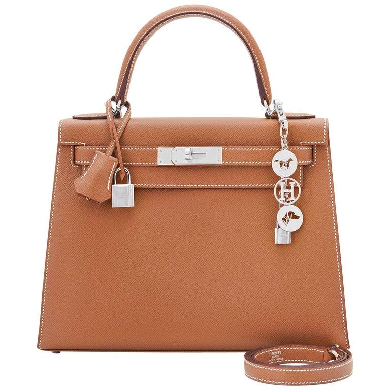 Hermes Kelly 28cm Gold Camel Tan Epsom Sellier Shoulder Bag NEW For Sale