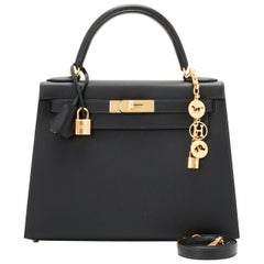 Hermes Kelly 28cm HSS Black and Gris Perle Epsom Sellier Bag D Stamp, 2019