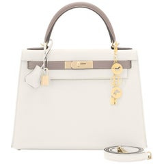 "Hermes Kelly 28cm HSS Craie ""Chalk"" and Trench Epsom Sellier Shoulder Bag"