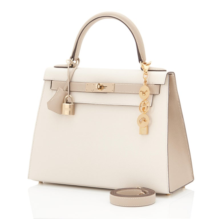 Guaranteed Authentic Hermes Kelly 28cm Craie and Trench Epsom Sellier Shoulder Bag World Exclusive! A fabulous combination custom made by Hermes for a VIP special order. Brand New in Box. Store Fresh. Pristine Condition (with plastic on