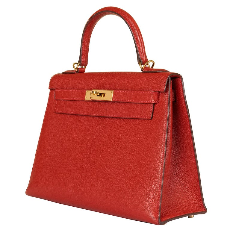 Red Hermes Kelly 28cm in rare Chevre Mysore - Rouge 'H' Leather with Gold Hardware For Sale