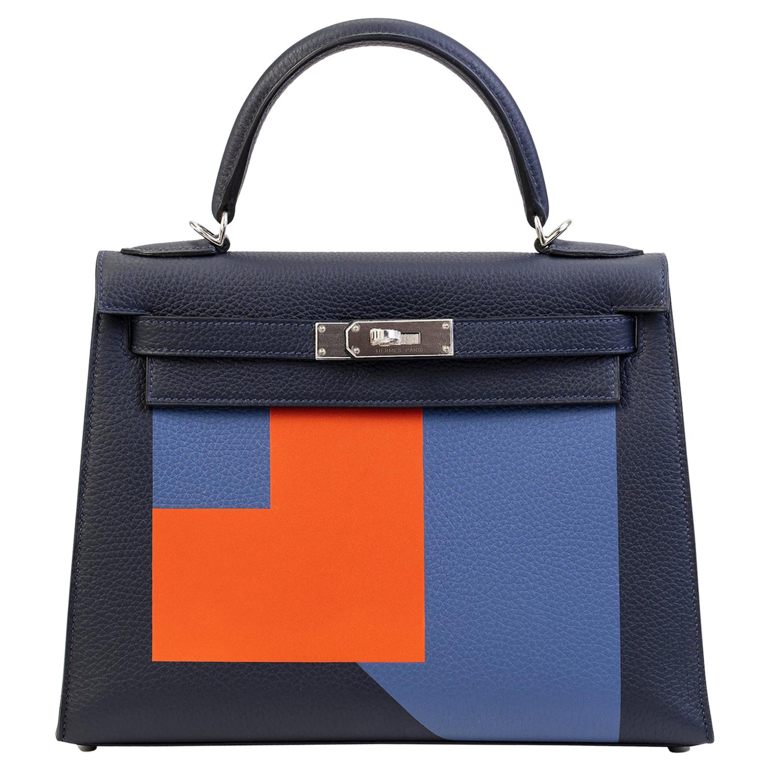 """Hermes Kelly 28cm """"Letter"""" Collection in Blue with Palladium Silver hardware"""