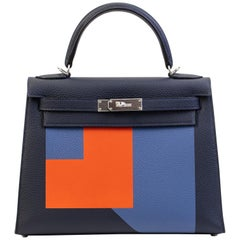 "Hermes Kelly 28cm ""Letter L"" Epsom leather with Silver"